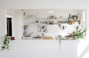 mala bijela kuhinja sa šankom i cvijećem