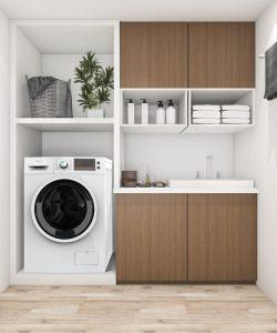 Tesla mašina za pranje veša u drvenoj polici u kupatilu