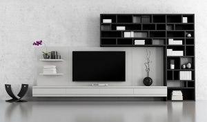 dekorativna crno bela kombinacija enterijera sa policama i Tesla televizorom