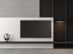 dekorativni crno beli zid sa Tesla televizorom