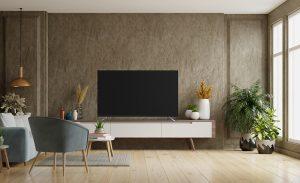 dekorativni zid od modernih tapeta sa Tesla televizorom