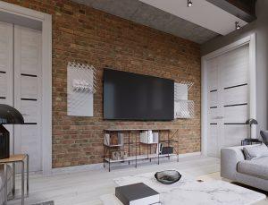 dekorativni zid sa tamnim ciglama sa Tesla televizorom