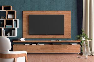 dekorativni zid sa plavim zidom i drvenim delom za Tesla televizor