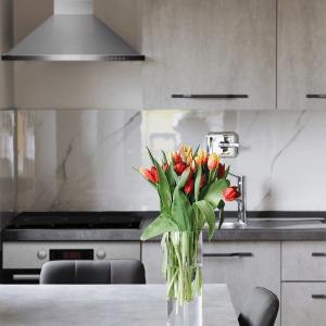 Svetla nova kuhinja, u njoj Tesla aspirator i Tesla ugradna rerna. Na stolu lale u vazi sa cvećem